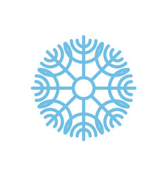 snowflake isolated blue snow on white background vector image vector image