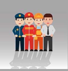 workers people group men occupation set vector image
