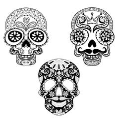 Zentangle stylized patterned Skulls set for vector image vector image