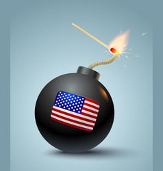 bomb with american flag vector image vector image
