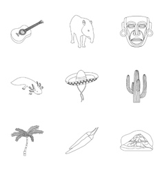 Mexico country set icons in outline style Big vector image vector image