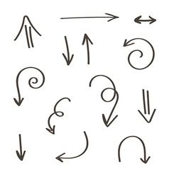 Set of monochrome hand-drawn arrows vector