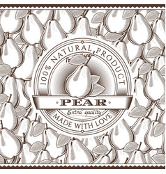 vintage pear label on seamless pattern vector image vector image