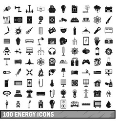 100 energy icons set simple style vector image