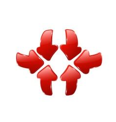 3d red arrows vector image