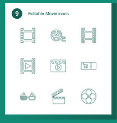 9 movie icons vector image