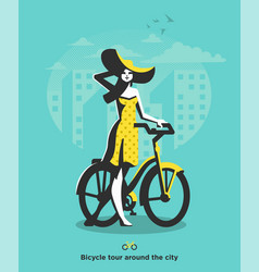 a girl in hat walks next to bicycle vector image
