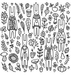 a set doodle rabbits vector image