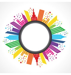 Abstract colorful building design around circle vector image