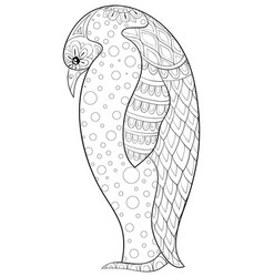 adult coloring bookpage a cute penguin image vector image