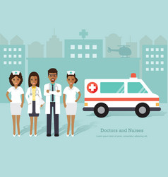 African doctors and nurses medical staff vector