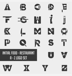 Alphabet food chef logo collection design icon vector