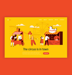 amusement park landing page template circus vector image