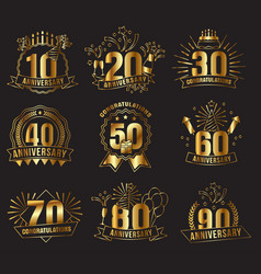 anniversary golden numbers set vector image