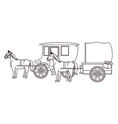 Antique horse carriages animal tractor in black vector