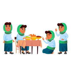 arab muslim girl set prayer religion vector image