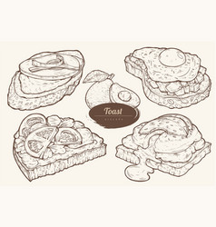avocado toasts with different toppings vector image