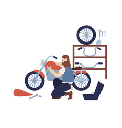 bearded hipster guy motorcycle customization at vector image
