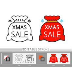 big santa red bag xmas sale linear icon vector image