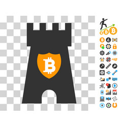 Bitcoin shield tower icon with bonus vector