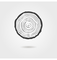 Black tree rings icon with shadow vector