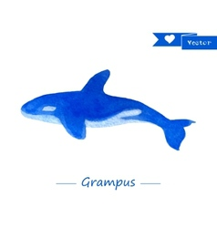 Blue grampus Handdrawn watercolor vector image