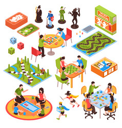 Board games people isometric set vector