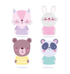 cartoon cute animals characters cat rabbit bear vector image