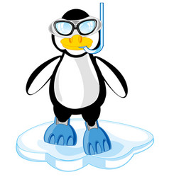 cartoon of the penguin in mask and flipper vector image