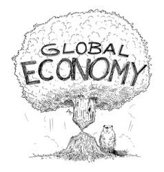 Cartoon tree representing global economy vector