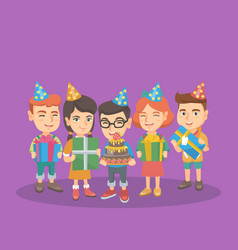 caucasian children with birthday cake and gifts vector image