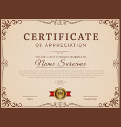 Certificate template decorative borders and vector