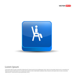 Chair icon - 3d blue button vector
