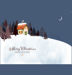christmas greeting card with cute little house and vector image