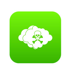 cloud with skull and bones icon digital green vector image