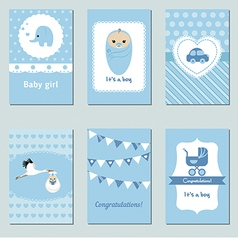 Collection of cute Baby Boy Card vector image