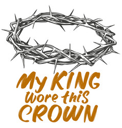 crown thorns and calligraphic text logo easter vector image