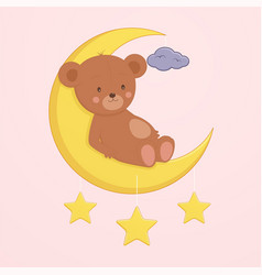 cute bear is sitting on moon vector image
