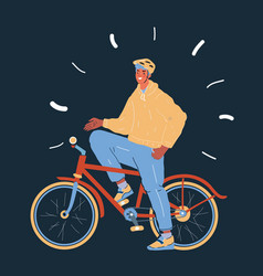 cyclist young man with helmet vector image