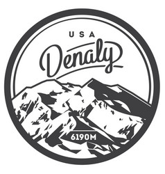 Denali in alaska range north america usa outdoor vector