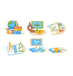 different school supplies set back to school vector image
