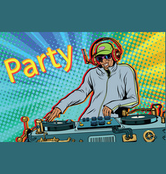Dj boy party mix music vector