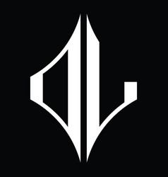 Dl logo monogram with diamond shape design vector