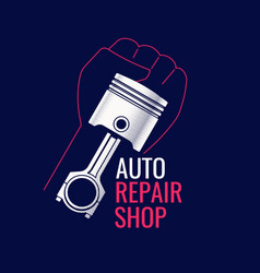 drawing automobile piston poster for service vector image