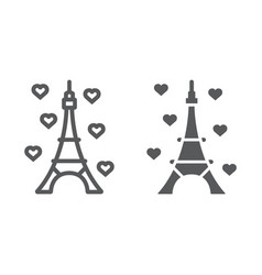 eiffel tower line and glyph icon france and paris vector image