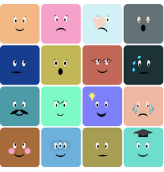 Emoticons emoji smiley square icon set vector