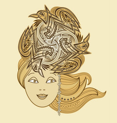 Fabulous celtic fairy with fashionable hairstyle vector