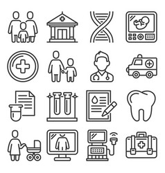 family health clinic icons set on white background vector image