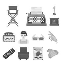 Films and cinema monochrome icons in set vector