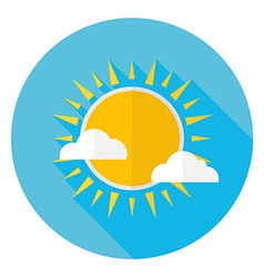 Flat Sky Sun and Clouds Circle Icon with Long vector